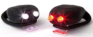 Sport DirectTM Bicycle Bike Cycle Helmet Mega MiniTM 2x2 Twin LED's Silicone LED Light Set Black, Legally Flashing Light Set Conforms to Road Vehicle Lighting Regulations SI2005 No.2559. CE Approved