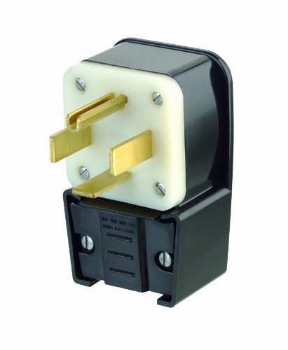 Leviton 9462-P 60 Amp, 125/250 Volt, Straight Blade, Plug, Industrial Grade, Grounding, Angle, Black