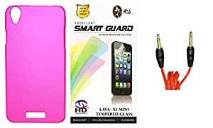 FCS Rubberised Hard Back Case For Lava Iris X1 Mini With 3.5mm 1 Meter AUX Cable And Tempered Glass