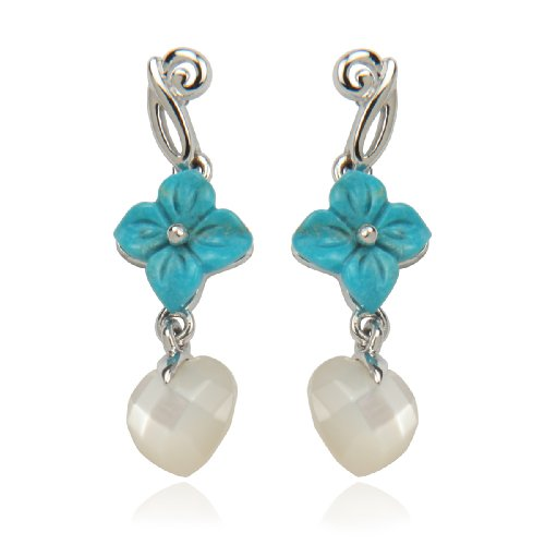 Sterling Silver Chinese Turquoise Flower and Mother-Of-Pearl Drop Earrings