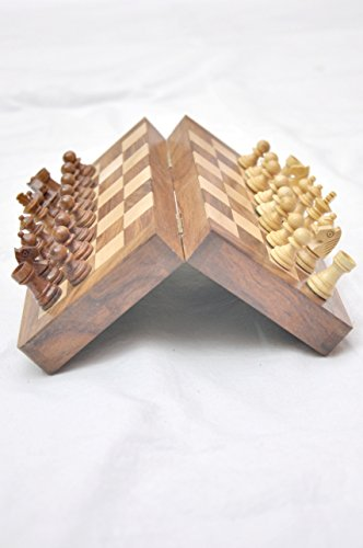 """Kimaro 7"""" Magnetic Form Fitting Folding Wooden Travel Chess Set - 7 in x 7 in - With Wood Pieces in Case - Handmade 2"""
