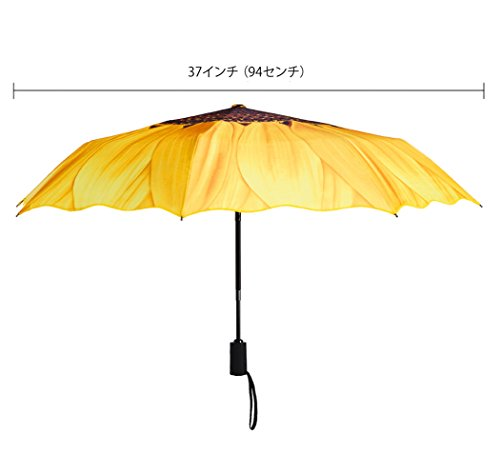 Plemo Regenschirm, Sonnenblume Automatik Taschenschirm Schirm Damenschirm (94 cm Durchmesser) - Gelb -