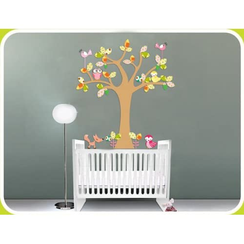 Kids Fun Tree Vinyl Wall Decal with Birds Owls and a Fox Big Leaves