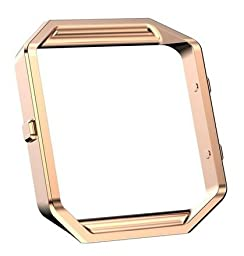 Fitbit Blaze Accessory Frame, Eagwell Metal Rugged Frame Case Housing For Fitbit Blaze Smart Watch, (Rose Gold)