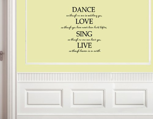 DANCE AS THOUGH NO ONE IS WATCHING YOU Vinyl wall lettering stickers quotes and sayings home art decor decal