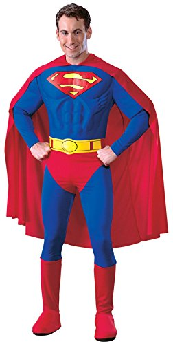 [UHC Men's Superman Adult Muscle Marvel Theme Party Deluxe Halloween Costume, M (38-40)] (Plus Size Deluxe Superman Costumes)