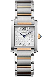 Cartier Tank Francaise Silver Dial Steel and 18kt Pink Gold Ladies Watch WE110005