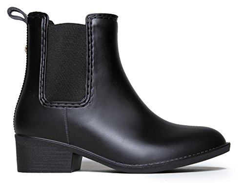 Western Ankle Rain Boot- Chelsea Low Heel Casual Jelly Bootie - Comfortable Cowgirl Walking Slip on Boot