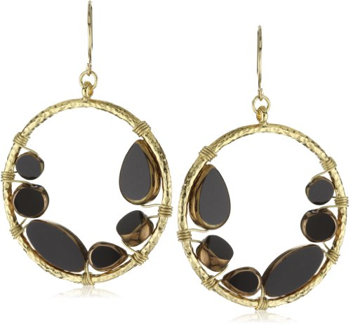 Sparkling Sage Black & Gold Circle Glass Bead Gold-Tone Earrings