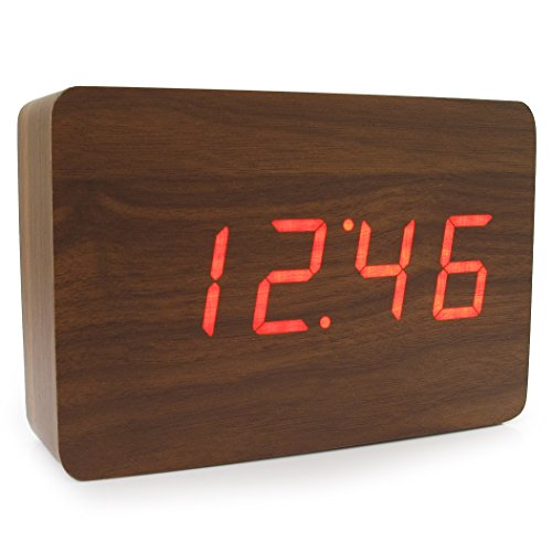 JCC New Wooden Series Modern Mini Rectangle Wood Grain Calendar Thermometer Activated Desk Super Soft Night Light LED Digital Alarm Clock (Brown Wood - Red LED)