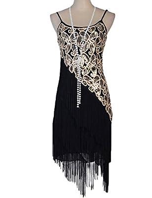 PrettyGuide Women's 1920S Paisley Art Deco Sequin Tassel Glam Party Gatsby Dress