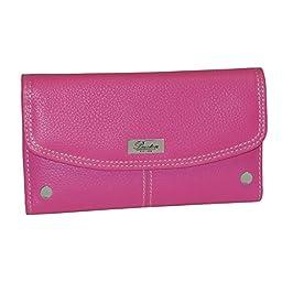 Buxton Women Genuine Leather Westcott Checkbook Clutch Wallet (Navy)