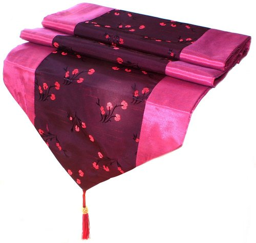 Artiwa Fuchsia Silk Decorative Table Runner / Bed Runner 14X80 Inch With Hot Pink Floral