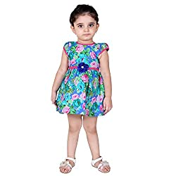 NAVEENS Pink Cotton Round Neck Party wear Dress for Girls