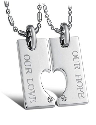 Valentine Titanium Couple Necklace Matching Set Heart-Shaped