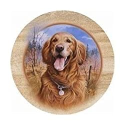 Set of 4 Sandstone Coasters - Killen's Golden Retriever