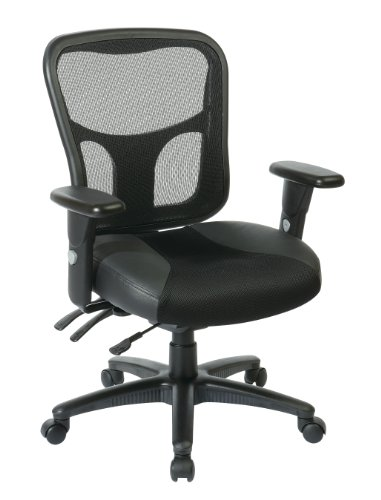 Office Star ProLine II ProGrid High Managers Chair with Leather and Mesh Seat