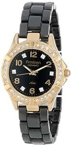 Armitron Women's 75/4032BKGP Black Ceramic Swarovski Crystal-Accented Bracelet Watch