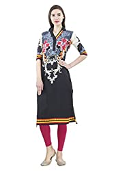 Vaamsi Women's PolyCotton Unstitched Kurti Fabric(KFD1025_Black_Free Size)