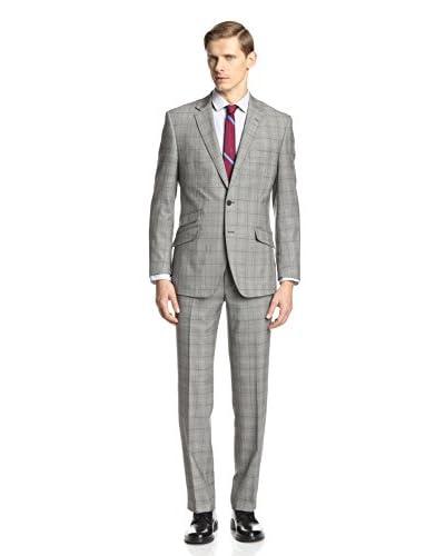 English Laundry Men's Windowpane Plaid Suit