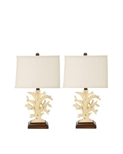 Safavieh Set of 2 Key West Coral 1-Light Lamps, Black/White/Cream