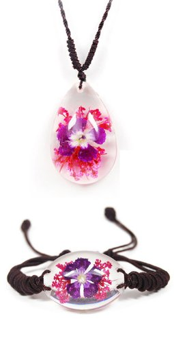 WeGlow International Flower Necklace and Bracelet Set, Clear - 1