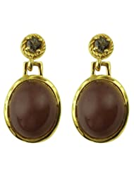 Carillon India Chocolate Moonstone & Smoky Quartz Sterling Silver Drop Earring