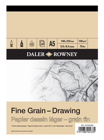 Daler-Rowney : A4 120gsm DR Fine Grain Drawing Cartridge Pad