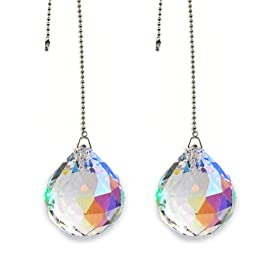 Magnificent crystal 40mm Aurora Borealis Crystal Ball Prism 2 Pieces Dazzling Crystal Ceiling FAN Pull Chain
