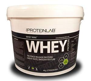 The Protein Lab Whey Protein Powder 40g/908g/2.25kg/4kg (Strawberry, 4kg)