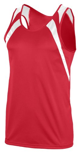 Augusta Sportswear Youth Double Needel Tank, Red/White, Medium front-932873