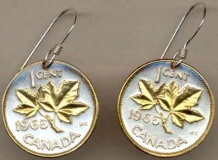 Canadian Penny ÒMaple LeafÓ Two Tone Coin Earrings