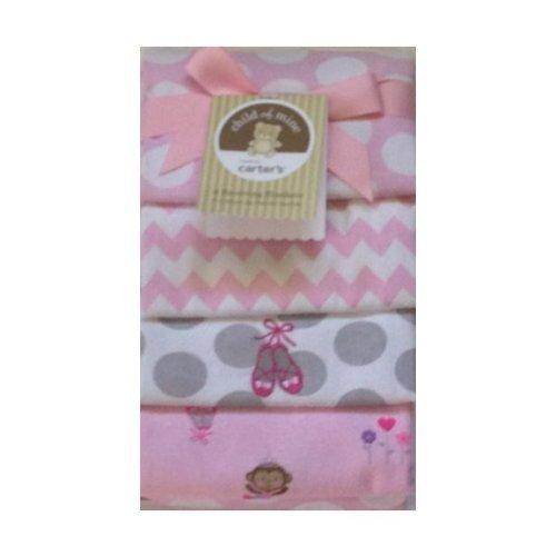 Carter's Child of Mine 4 Baby Receiving Blanket Set Monkey, Ballerina Slippers Girl Blankets (Pink)