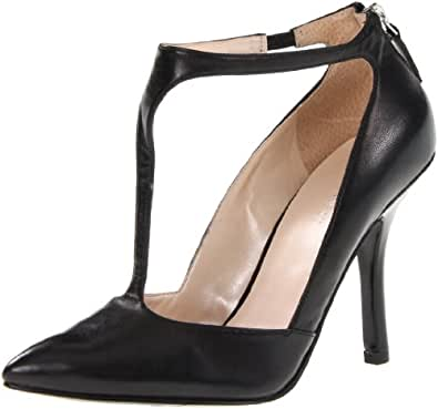Nine West Women's Blonsky Pump,Black Leather,10 M US