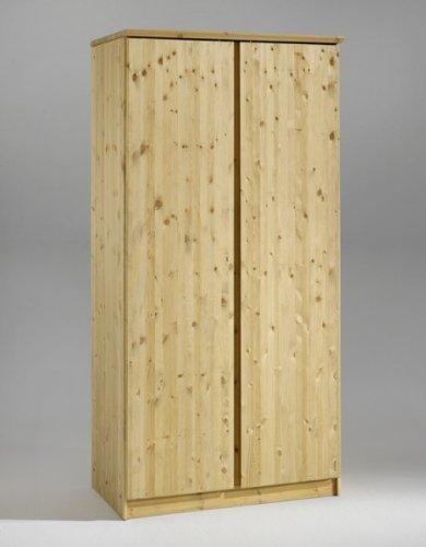 Kleiderschrank Schrank Schlafzimmerschrank Softclose 2-turig Kiefer massiv, Farbe:Gebeizt/Geölt