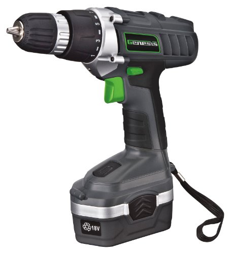 Genesis GCD18BK 18v Cordless Drill/Driver Kit, Grey, 3/8-inch (Cordless Drill Sale compare prices)