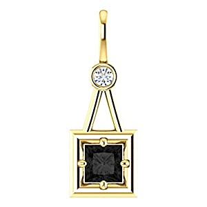 18K Yellow Gold Princess Cut Black Diamond Pendant - 1.06 Ct.