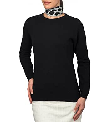 Wool Overs Women's Lambswool Crew Neck Jumper Black Extra Small