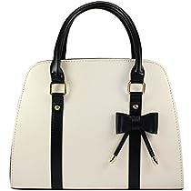 Samaz PU Leather Women Girls Handbag Little Bow Leisure Shoulder Bag (Beige£©