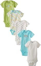 Gerber Unisex-Baby Newborn 5 Pack Variety Brand Hippo Onesies Brand, Hippo Green, 0-3 Months