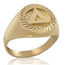 "buy Alcoholics Anonymous Solid 10K Gold Aa 1/2"" Mens Diamond Cut Unity Symbol Ring (13.5)"