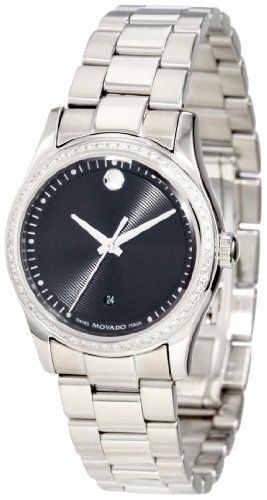 Movado Women's 0606498 Movado Sportivo Stainless Steel Diamond Bezel Museum Dial Watch