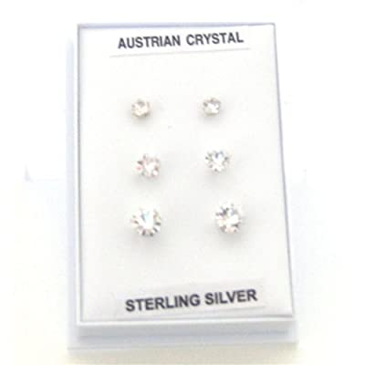Toc Sterling Silver Set of 3 Crystal Solitaire Stud Earrings 3mm, 4mm, & 5mm
