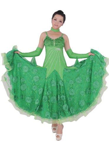 Colorfulworldstore Maßgeschneidertes Frauen-Turnierkleid für Modern-Dance, Walzer und Tango mit Federn und Strasssteinen (S/155CM Höhe, Blau)