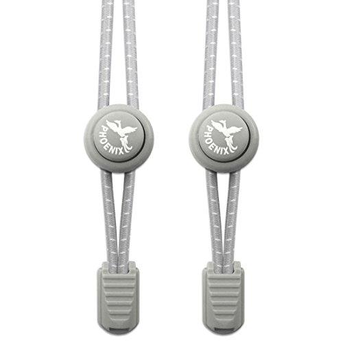 Lacci Elastici per Scarpe - Phoenix Fit UK - Facili da indossare, e disponibili in vari colori. Ottimo per corridori & per stili di vita attivi - 1 paio (Grigio siderale)