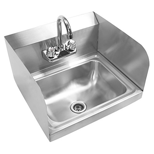 Purchase Gridmann - Commercial Stainless Steel Wall Mount Hand Washing Sink w/ Faucet & Sidespla...