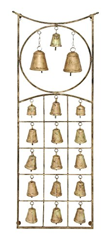 Woodland Imports Metal Bell Wall Hanging Plaque with Eighteen Bells in Exquisite Circle and Square Design