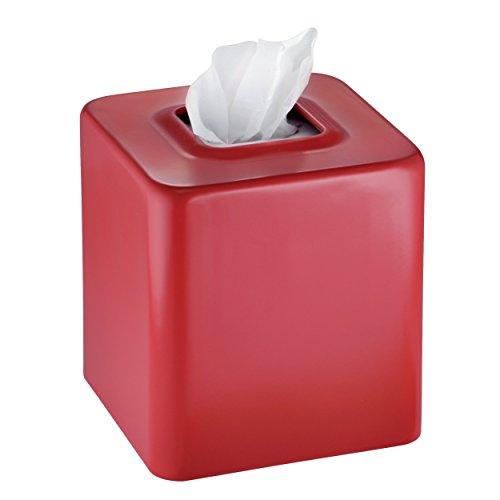 Mdesign Facial Tissue Box Cover Holder For Bathroom Vanity Countertops Red Home Garden