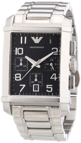 Emporio Armani AR0334 - Reloj cronógrafo de cuarzo para hombre, correa de acero inoxidable color plateado