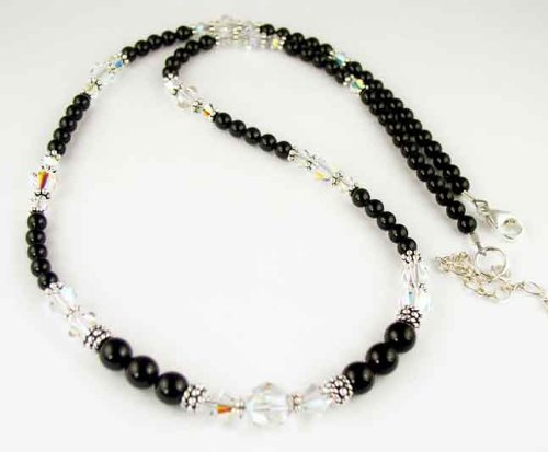 April Crystal Beaded Swarovski Crystal Black Pearl Birthstone Necklace in Sterling Silver - SMALL 16 In..